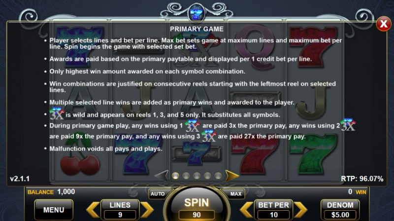 Triple Sapphire Sevens :: Feature Rules
