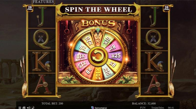 Trojan Tales :: Bonus Wheel triggered