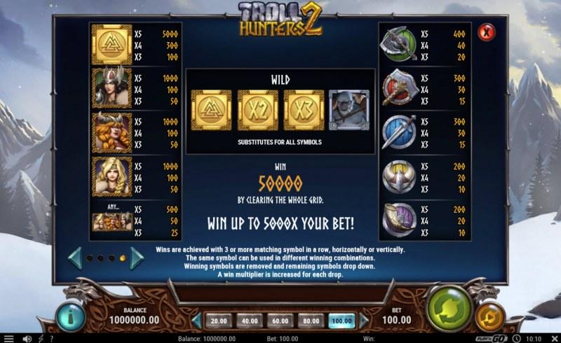 Troll Hunters 2 :: Paytable