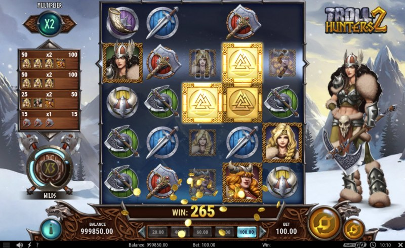 Troll Hunters 2 :: Winning symbols are removed from the reels and new symbols drop in place