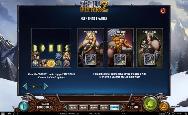 Troll Hunters 2 :: Free Spins Rules