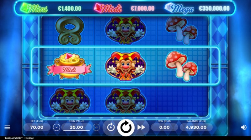 Play slots at Guru Play: Guru Play featuring the Video Slots Trollpot 5000 with a maximum payout of $350,000