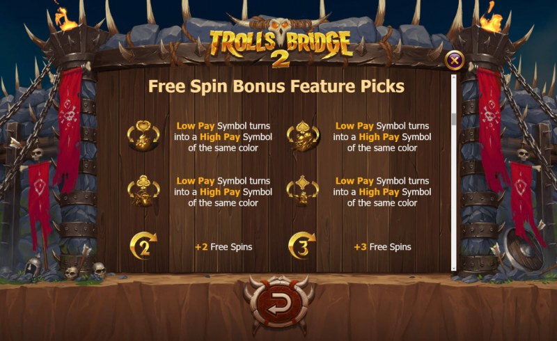 Trolls Bridge 2 :: Free Spins Bonus Feature Picks