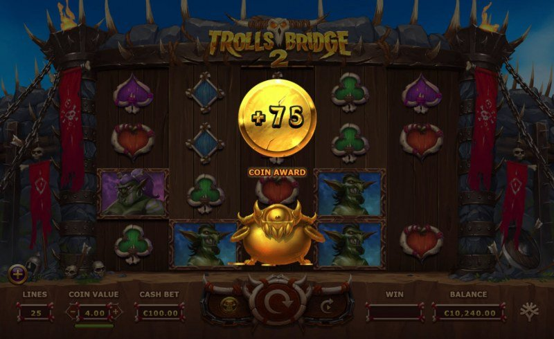 Trolls Bridge 2 :: A random multiplier or free spins prize is awarded during the bonus feature