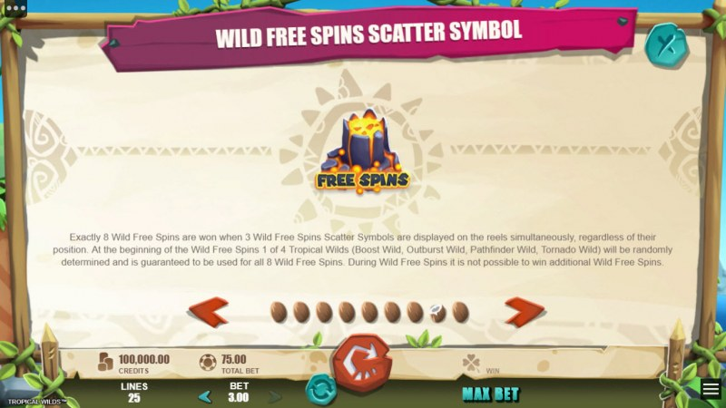 Tropical Wilds :: Wild Free Spins Scatter