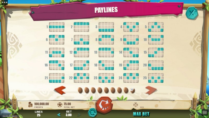 Tropical Wilds :: Paylines 1-25