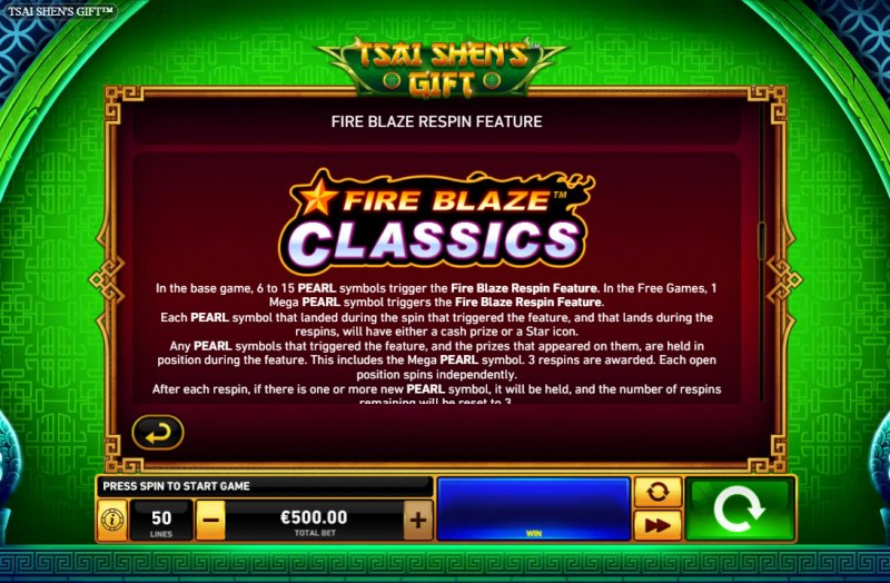Tsai Shen's Gift :: Fire Blaze Respin Feature