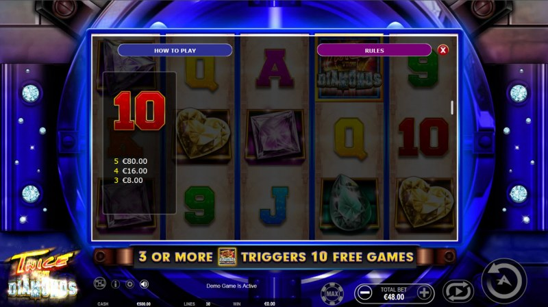 Twice the Diamonds :: Paytable - Low Value Symbols