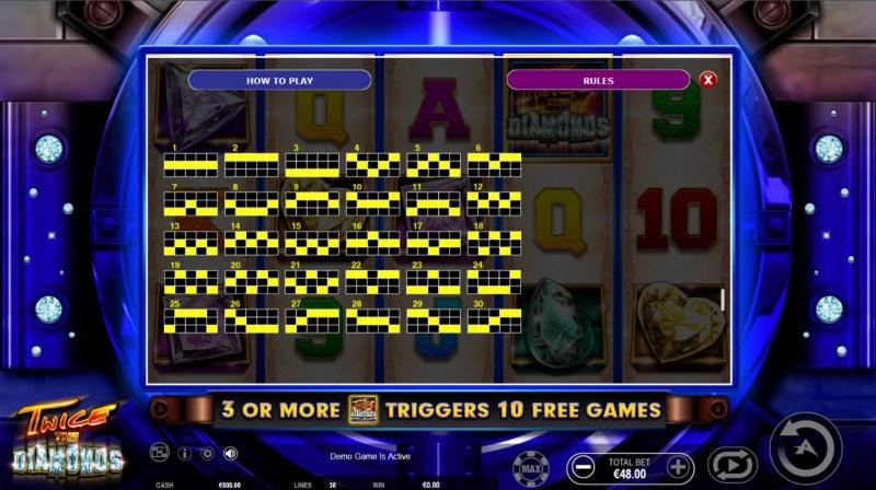 Twice the Diamonds :: Paylines 1-30