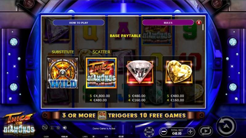 Twice the Diamonds :: Paytable - High Value Symbols