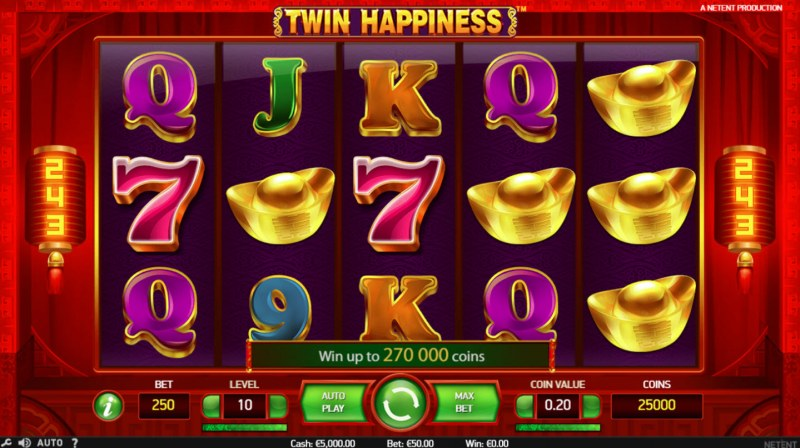 Play slots at 6 Black: 6 Black featuring the Video Slots Twin Happiness with a maximum payout of $125,000