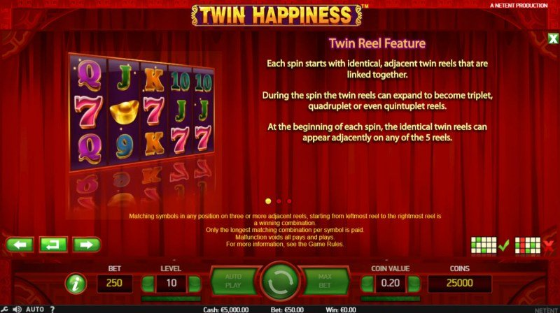 Play slots at My Win 24: My Win 24 featuring the Video Slots Twin Happiness with a maximum payout of $125,000