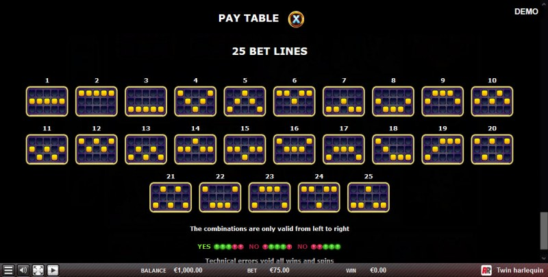 Twin Harlequin :: Paylines 1-25