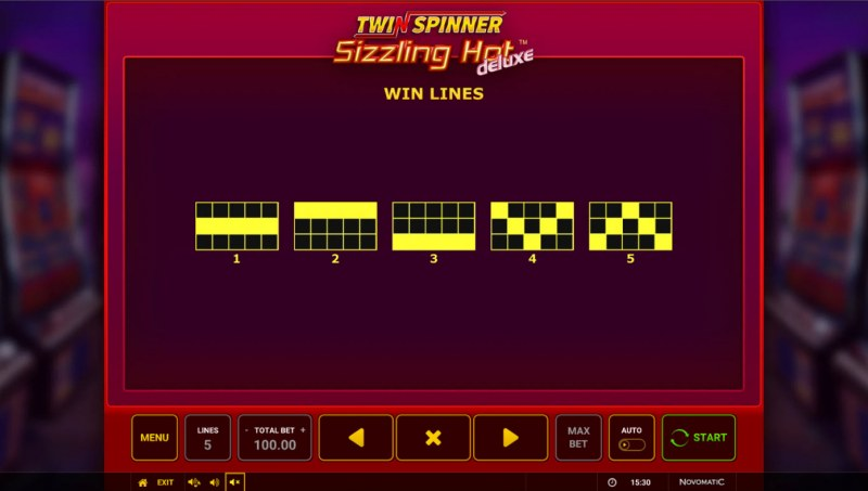 Twin Spinner Sizzling Hot Deluxe :: Paylines 1-5