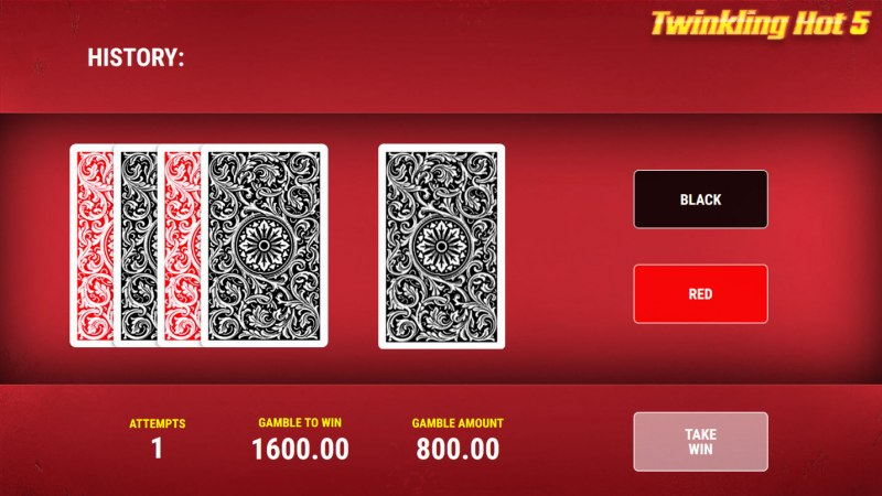 Twinkling Hot 5 :: Black or Red Gamble Feature