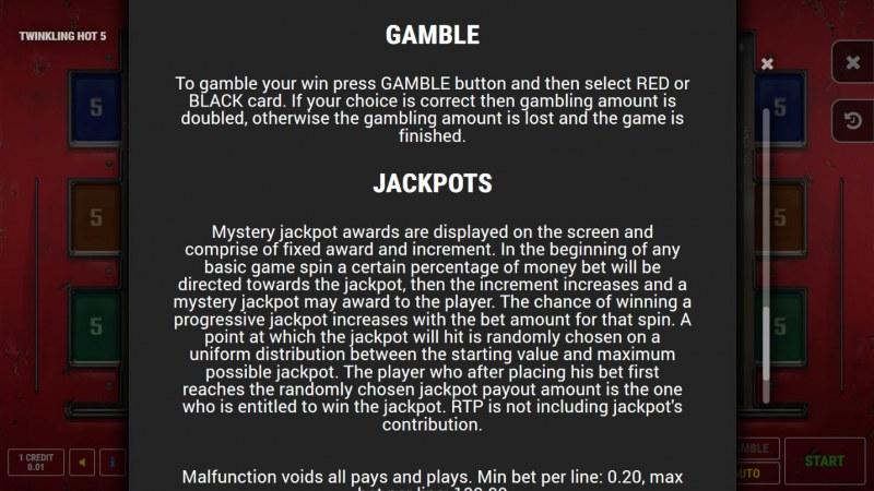 Twinkling Hot 5 :: Jackpot Rules