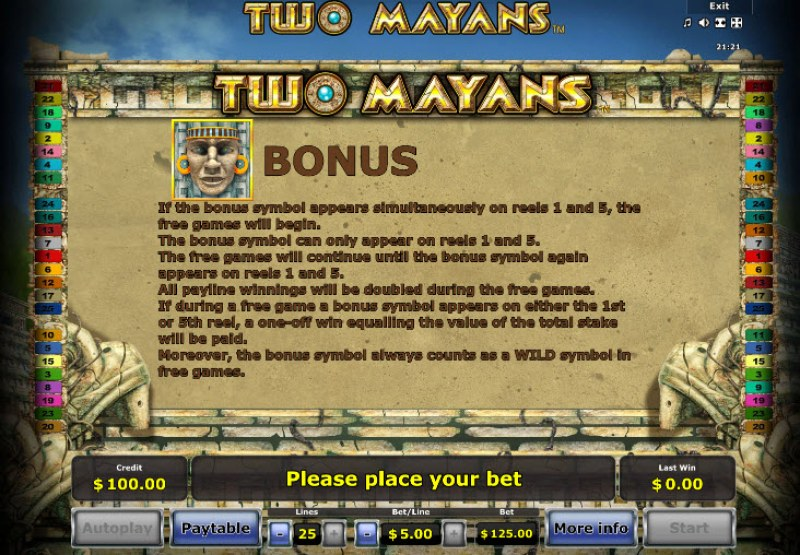 Two Mayans :: Bonus Game Rules