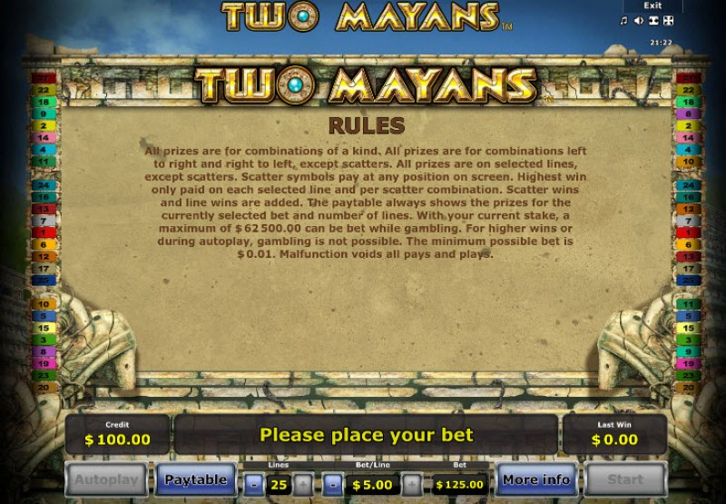 Two Mayans :: General Game Rules