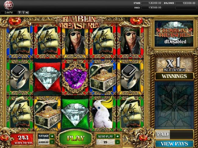 Mongoose Casino featuring the Video Slots Tumbling Treasures with a maximum payout of $250,000