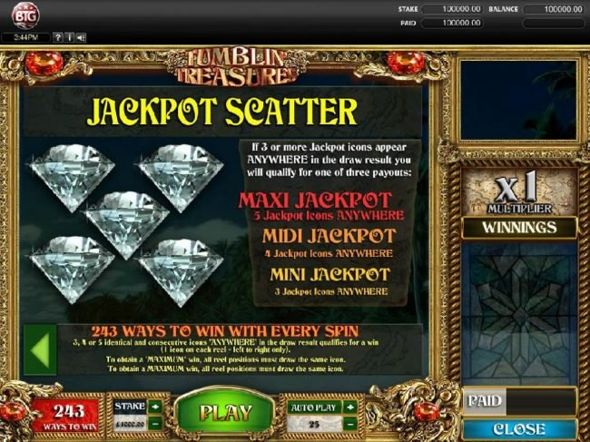 Zet Casino featuring the Video Slots Tumbling Treasures with a maximum payout of $250,000