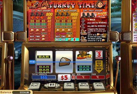 Miami Club featuring the Video Slots Turkey Time with a maximum payout of $24,000