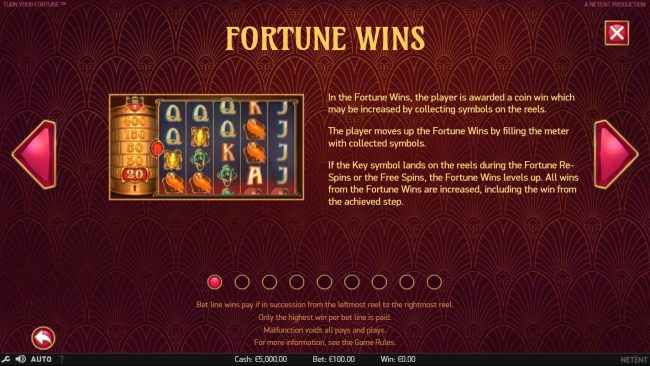 Dragonara featuring the Video Slots Turn Your Fortune with a maximum payout of $400,000