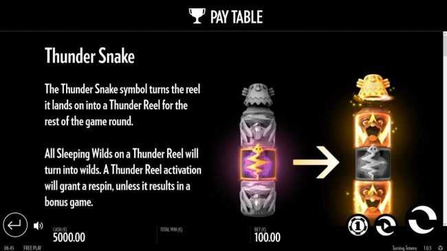 Turning Totems :: The Thunder Snake symbol turns the reel it lands on into a Thunder Reel for the rest of the game round.