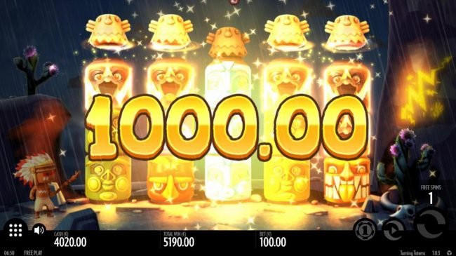 Turning Totems :: An awaesome 1000.00 jackpot awarded as a result of multiple winning paylines.