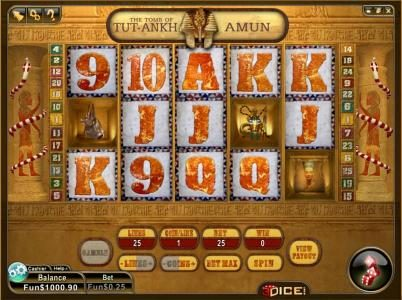 Play slots at 3Dice: 3Dice featuring the Video Slots Tutankhamon with a maximum payout of $1,200