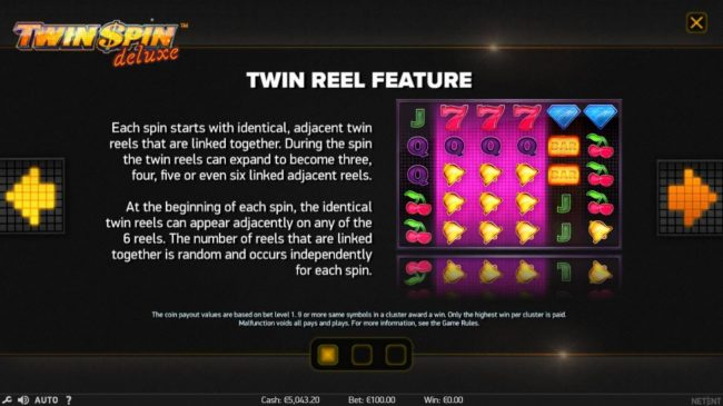 EU Casino featuring the Video Slots Twin Spin Deluxe with a maximum payout of $100,000