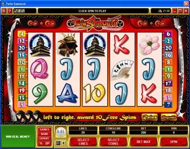 Challenge featuring the Video Slots Twin Samurai with a maximum payout of $5,000