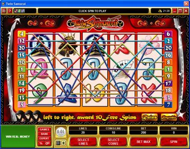 Casumo featuring the Video Slots Twin Samurai with a maximum payout of $5,000