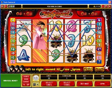 YouWin featuring the Video Slots Twin Samurai with a maximum payout of $5,000