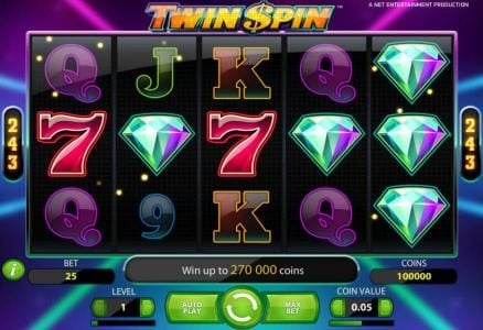 Twin Spin :: main game board featuring five reels and 243 ways to win