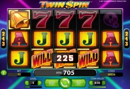 Twin Spin :: a 705 coin payout triggered by multiple winning combinations