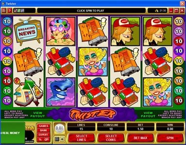 Vegas Slot featuring the Video Slots Twister with a maximum payout of $90,000