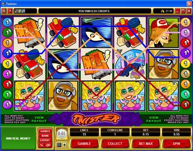 Lucky247 featuring the Video Slots Twister with a maximum payout of $90,000