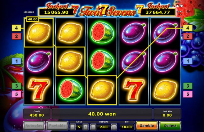 My Bet featuring the Video Slots Two Sevens with a maximum payout of Jackpot