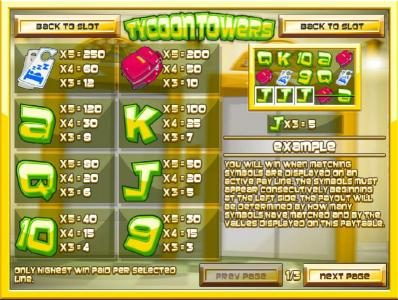 Pantasia featuring the Video Slots Tycoon Towers with a maximum payout of $1,500