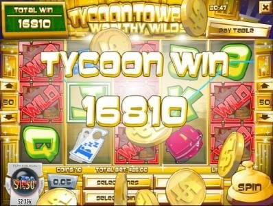 Multiple sticky wilds and re-spins triggers a 16, 810 coin Tycoon Win