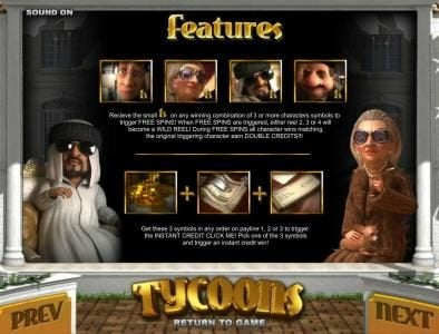 Tycoons :: free spins and click me feature rules