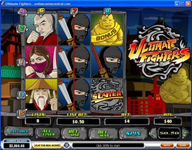 Casino.DK featuring the video-Slots Ultimate Fighters with a maximum payout of $75,000