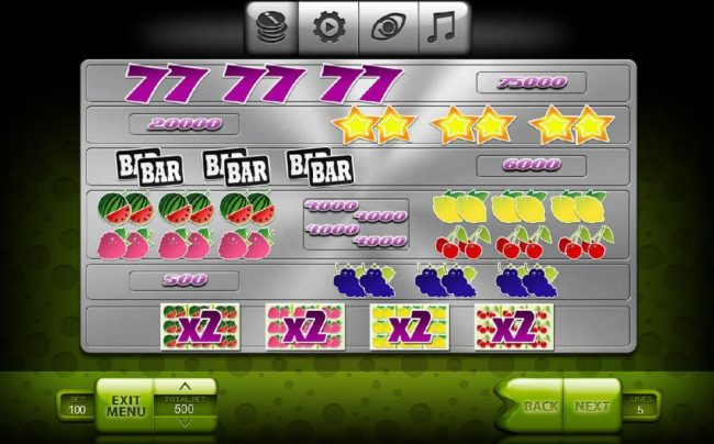Slot game symbols paytable - The Highest value symbols include a purple seven and yellow Stars