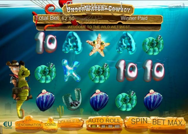 Play slots at Win 7: Win 7 featuring the Video Slots Underwater Cowboy with a maximum payout of $3,750