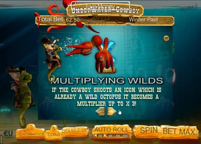 Win 7 featuring the Video Slots Underwater Cowboy with a maximum payout of $3,750