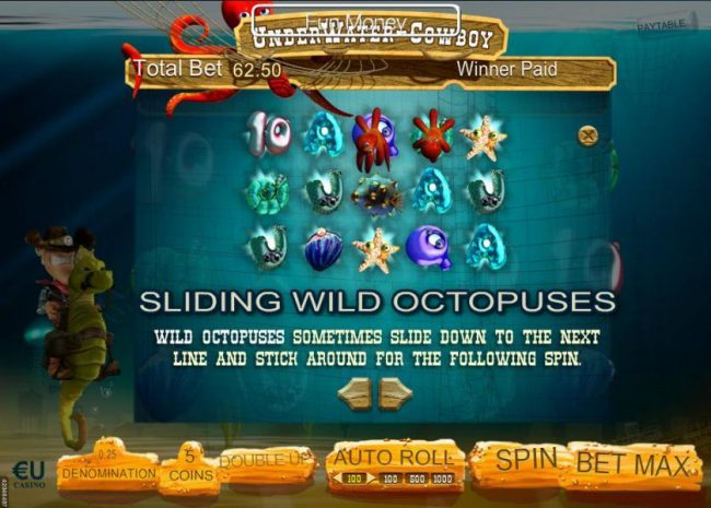 Slots Magic featuring the Video Slots Underwater Cowboy with a maximum payout of $3,750