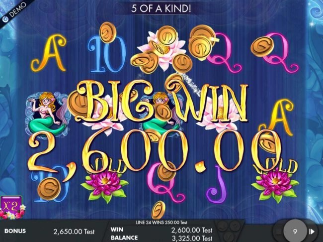 A 2,600.00 big win triggered during the free spins feature.