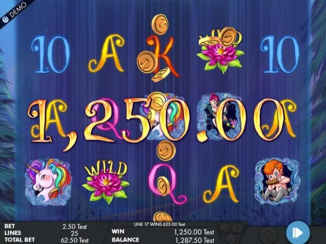 A pair of winning paylines leads to a 1,250.00 jackpot win.