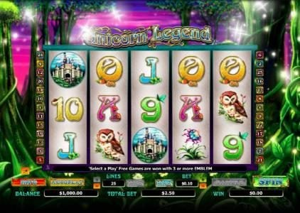 Jellybean Casino featuring the Video Slots Unicorn Legend with a maximum payout of $4,000