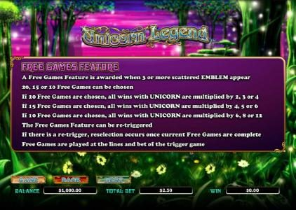 Unicorn Legend :: free games feature rules
